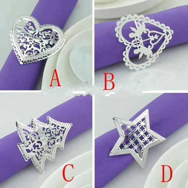 peçete masa yemek için 4 stilleri gümüş Peçete halkaları düğün peçete tutucu Düğün tercih dekorasyon Malzemeleri delinmiş yıldız şekilli metal halka