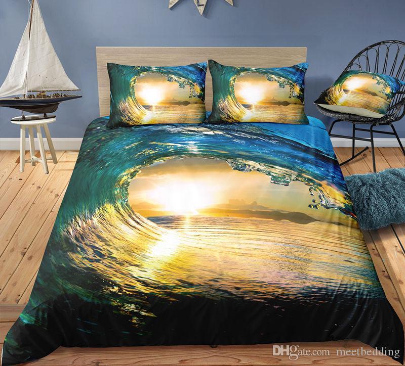 2/3 piezas de Mordern duvet cover set Individual Doble extragrande Tapa de Consolador Set Ropa de cama con paisaje del mar Playa de arena belleza Azul Amarillo