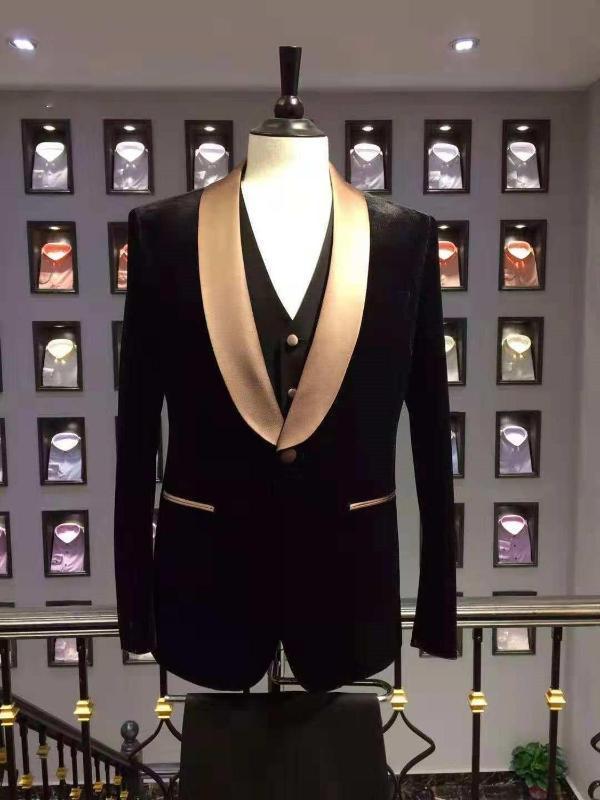 New Fashion Black Velvet Men Suits 3 Pcs One Button Golden Shawl Lapel Tuxedos Men Suits Prom Best Man Blazer Jacket+Pant+Vest