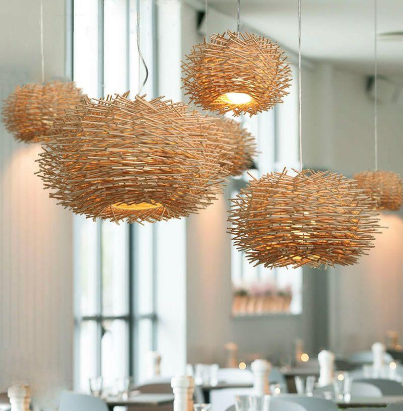 Bird Nest Pendant Lamp Light Wicker Wood Handmade Rattan Weaving Chandelier