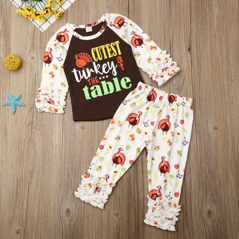 Kid Baby Girl Thanksgiving Clothes Turkey Long Sleeve Tops+Pants Outfit 2pcs Set