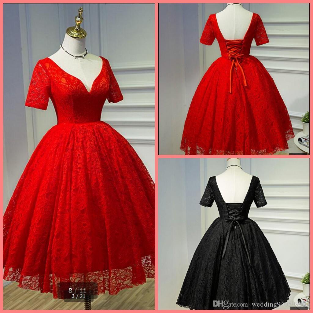 Vestido De Noiva 2019 New arrival vermelho vestido de baile vestido de noiva meia manga imagem real profunda v pescoço petite sexy vestidos de noiva espartilho
