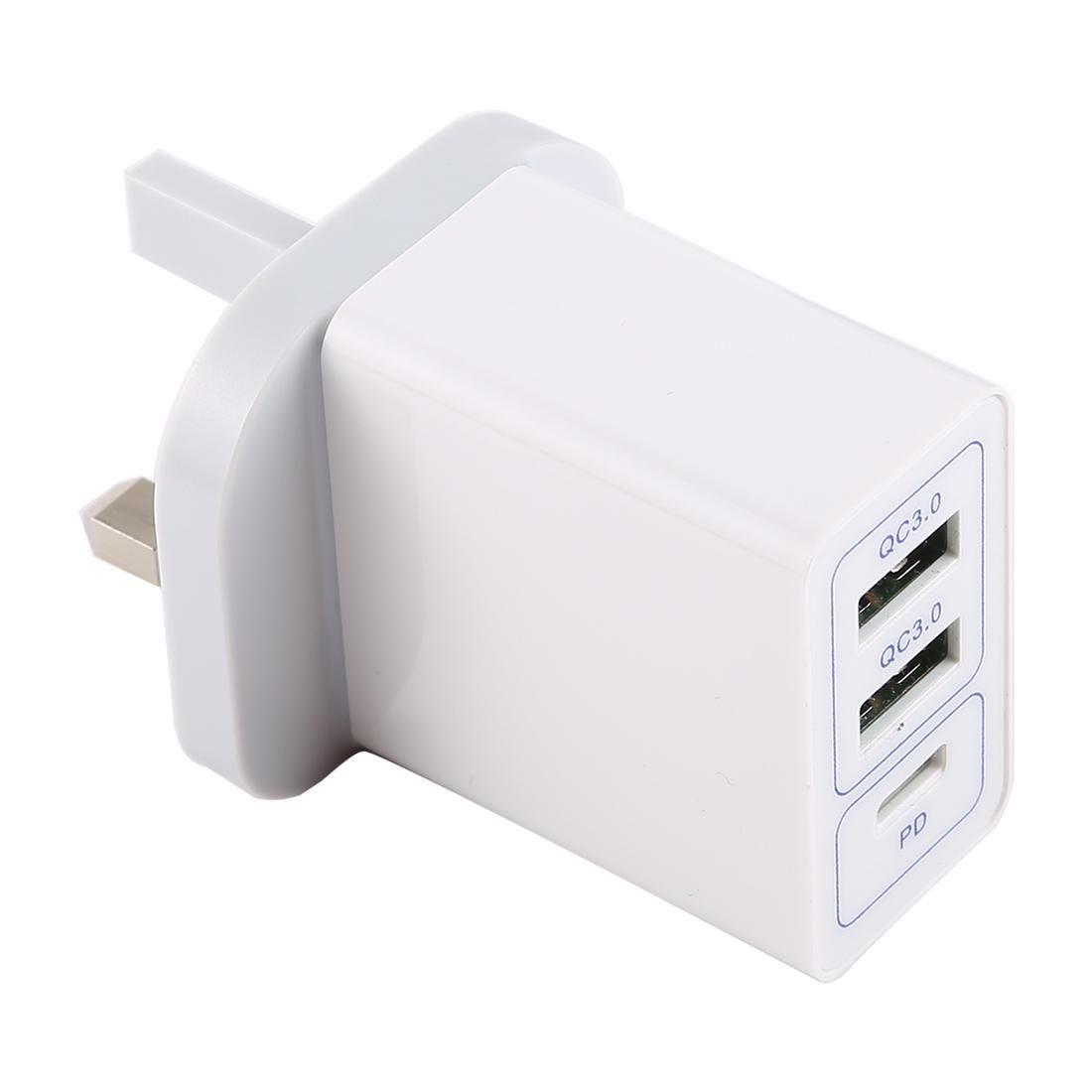 3A Max USB-PD uscita + due porte USB QC3.0 Viaggi Fast Charger, spina BRITANNICA