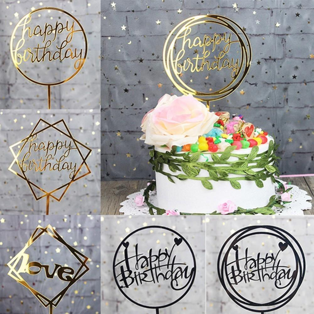Confezione da 1 pz Buon Compleanno Decorazioni Cake Topper Cupcake Tpppers Per Anniversario Festa di Compleanno Matrimonio Decoraitons SH190717