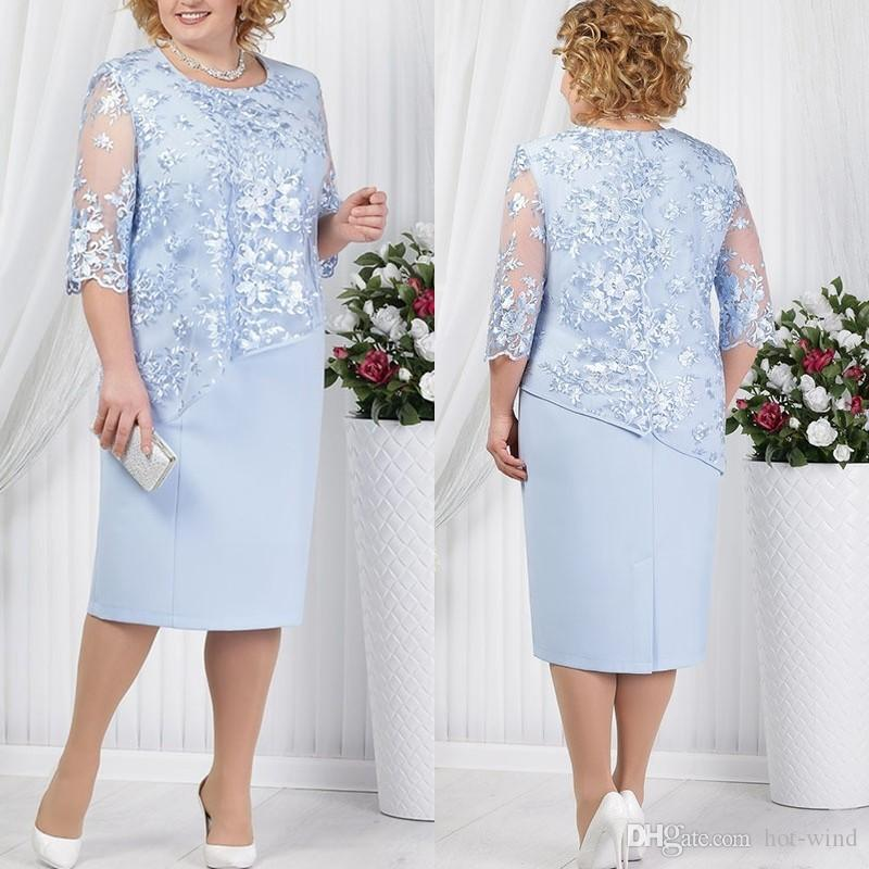 Elegant Sky Blue Lace Mother Of Bride Dresses Tea-length Sexy Illusion Straight Evening Gowns 3/4 Sleeves Cut-out Robe de Soiree Longue