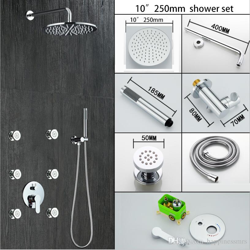 Bathroom conceal in wall shower set with 200/250/300mm brass big shower head 6 pcs 2 inches massage jets and hand shower