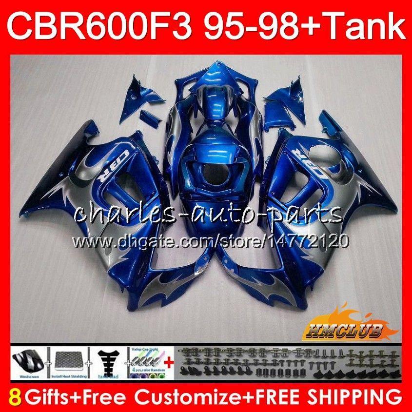 Body + Tank voor Honda CBR 600F3 600cc Blue Silvery CBR600 F3 95 96 97 98 41HC.128 CBR 600 FS F3 CBR600FS CBR6F3 1995 1996 1997 1998 Kuip