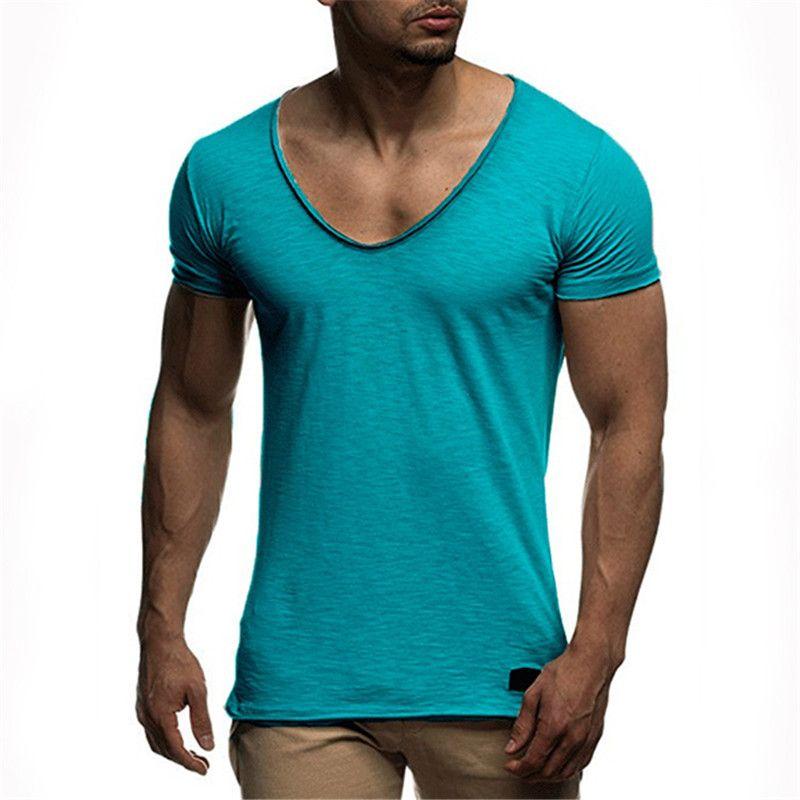 Großhandelspreis tiefer V-Ausschnitt Kurzarm Männer T-Shirt Mode-Männer T-Shirts Hip Hop Lässige Solid Color T-Shirts für Männer
