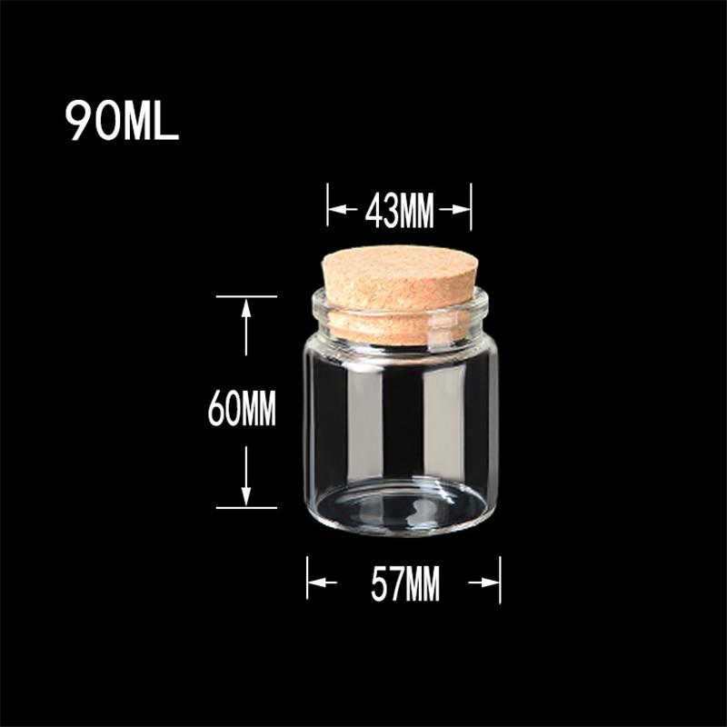 57x60x43mm 90ml Bottle Saffron armazenamento de vidro com rolhas Food Grade Jars para Saffron clara e transparente Garrafas 12pcs