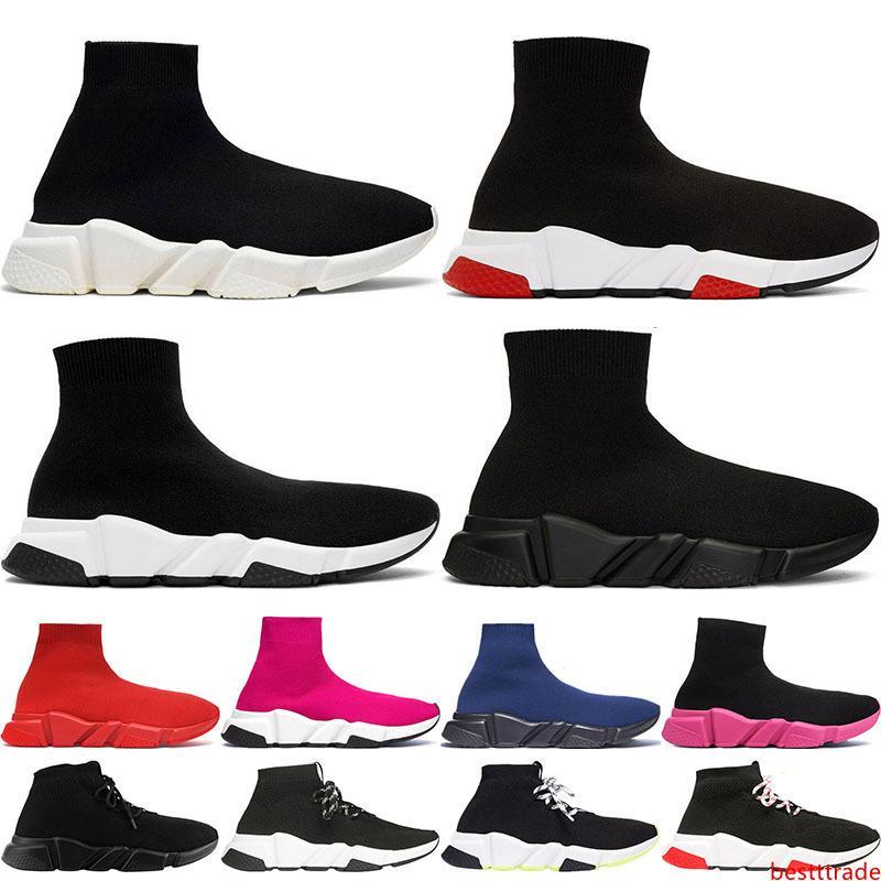 Calcetín del zapato de lujo velocidad de punto Formadores Casual zapatillas de deporte Speed Trainer calcetín raza negra Moda Calzado Hombres Mujeres Calzado deportivo Tamaño 36-45