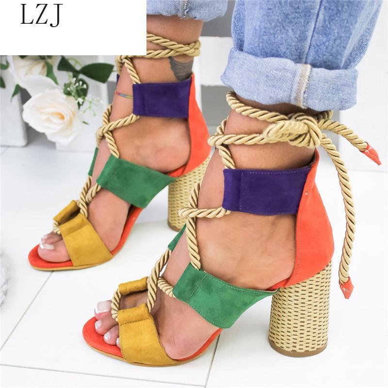 Женщины Кросс-привязанные сандалии 2020 Summer Многоцветный Повседневный Dance Party Пляж на высоких каблуках сандалии Bohemia гладиатором 35-43