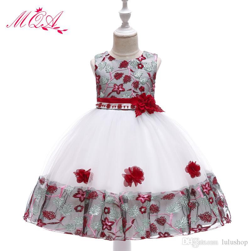 2019 robes pour enfants filles brodées robe perlée robe de princesse maille dentelle robe de mariée pettiskirt 3-8 ans