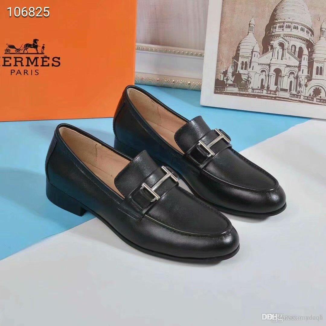 19FW peau de vache femmes chaussures compensées en cuir pompes chaussures habillées à la main en rétro à bout rond talon haut chaussures pour femmes Mesdames YECQ5