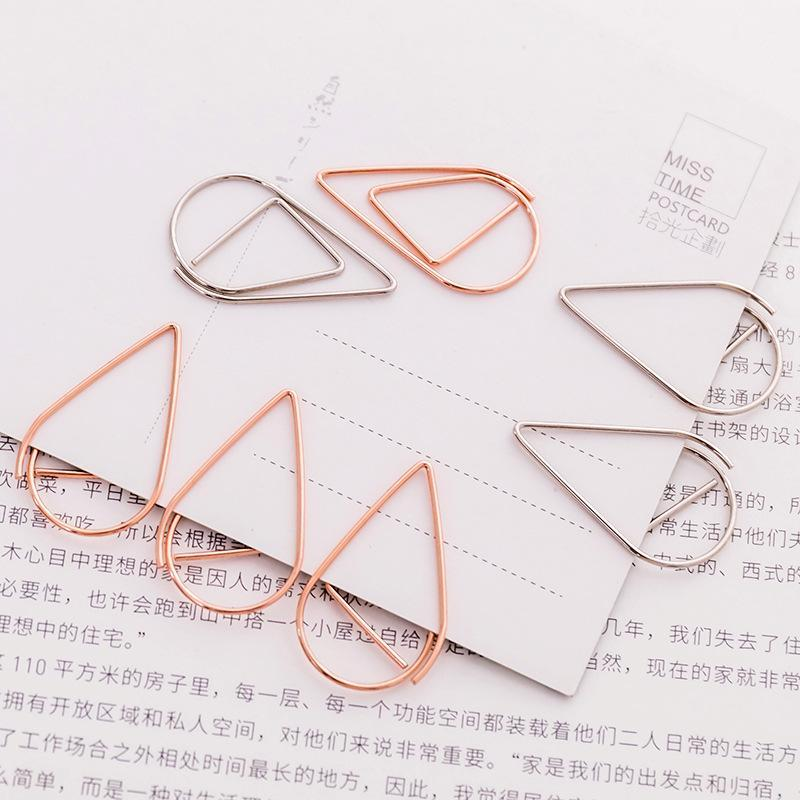 Gold Silver Color Funny Kawaii Bookmark Office School Stationery Marking Clips 10 pieces/Lot Portable Plastic Drop Shaped Paper Clips DH0435