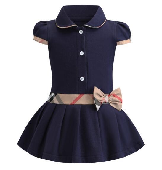 بنات جديدة وصول الصيف أنيقة فستان قصير الأكمام بدوره إلى أسفل طوق تصميم جودة عالية للأطفال القطن الطفل الملابس ثوب WL1159