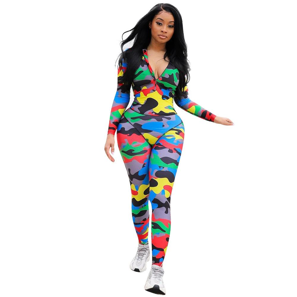 Sexy Jumpsuit Women Rompers Long Sleeve Bodycon Playsuits Overalls For Woman Fitness Camo One Piece Pants Bodysuits