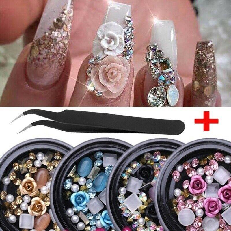 مسمار الماس الماس الأحجار الكريمة 3D تلميحات مختلفة DIY المختلطة اللون Decoration.A874