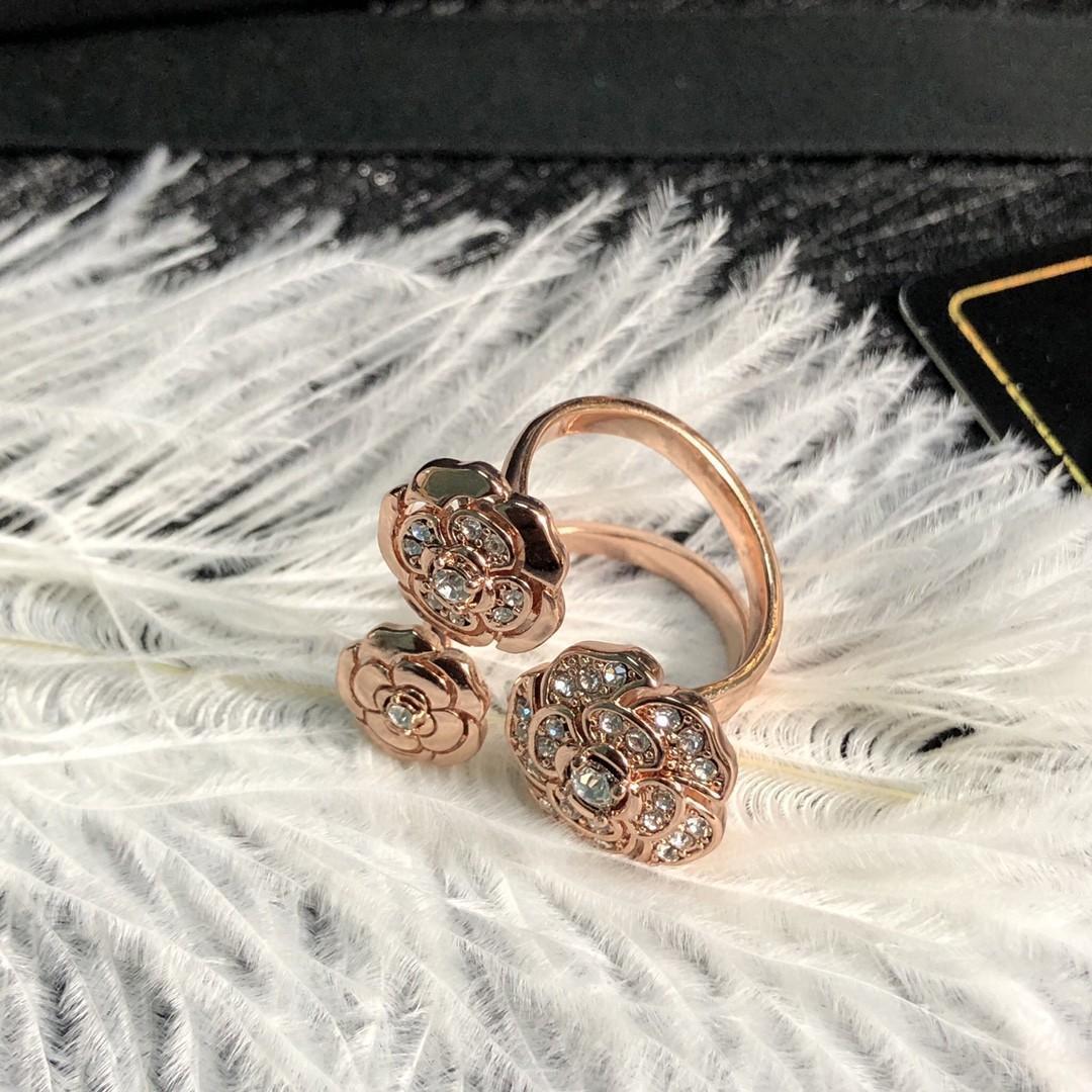 뉴 카멜리아 다이아몬드 여자 오픈 디자이너 반지 명품 디자이너 보석 여성 반지
