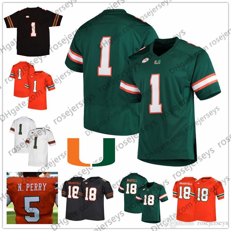 Personalizado Miami Hurricanes 2019 Futebol Qualquer Nome Número Verde Laranja Preto Branco 18 Tate Martell 5 Perry 15 Williams Gore Reed Hester Jersey
