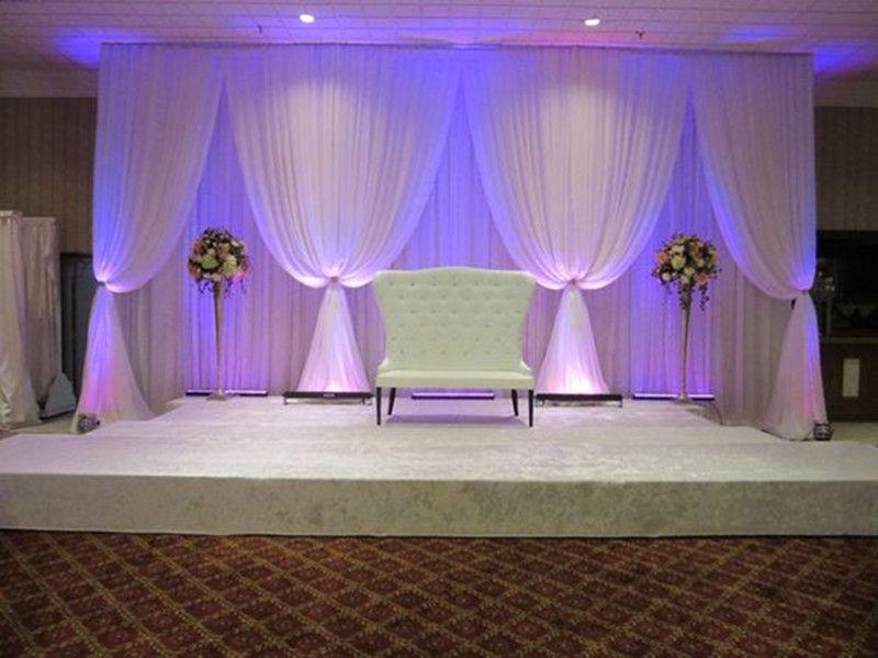 Рамадан украшения 3 * 6 м (10 футов * 20 футов) лед шелковый белый Свадебные занавески Фоны с белыми драпировками для свадьбы baby shower party decortaions