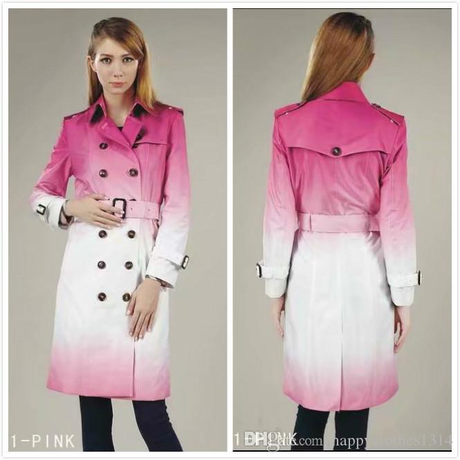 Дизайнерская зима пальто женщина Классический весна осень Двойной Брестед Верхняя одежда Trench Повседневный Офис Бизнес леди Тонкий тренчи