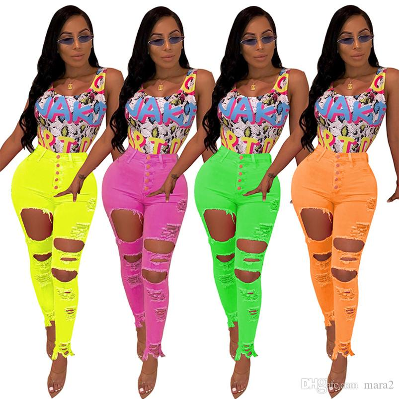 Women's Jeans Denim Pencil fashion sexy bodycon skinny leggings pants full length solid pocket Button Fly Hole summer clothing plus size 326