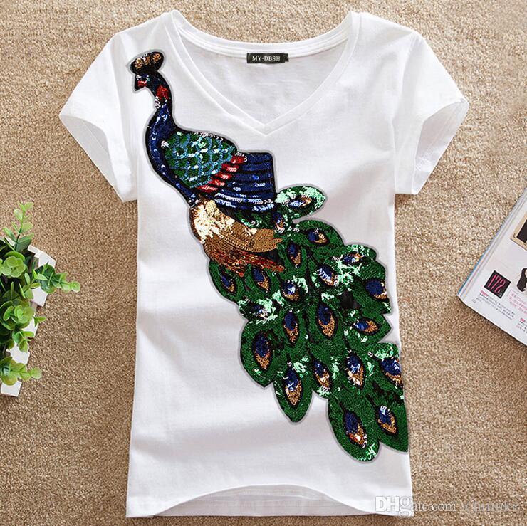 novo padrão de pavão das mulheres paetês bordados de algodão de manga curta T-shirt Slim Mulher Moda Top 208