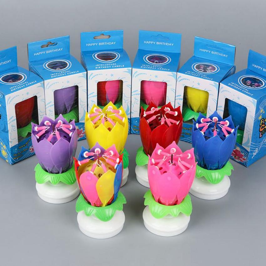 Müzikal Doğum Günü Pastası Mum Lotus Çiçek Çiçek Dönen Mum Lotus Köpüklü Çiçek Mumlar Kek Aksesuar Hediye KKA7955