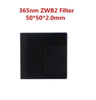 50x50x2.0mm 365nm UV Filter émission ZWB2 lumière visible Absorbant verre noir UG1 U-360