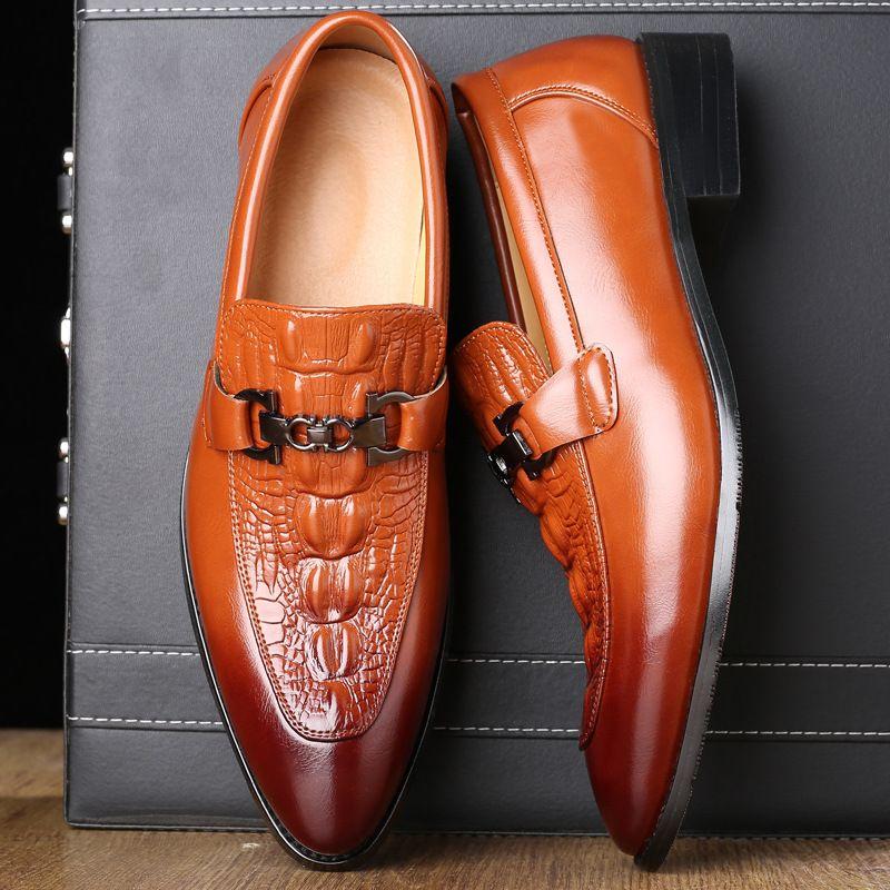 Grande formato del vestito Scarpe Uomo Mocassini di lusso italiana coccodrillo Style Uomo Scarpe Oxford formale genuino scarpe da sposa in pelle Q-671