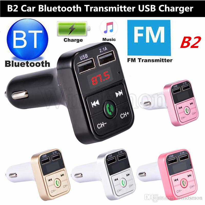 B2 USB Charger Car FM Transmitter Wireless Radio Adapter Dual USB Charger Bluetooth Mp3 Player Support Handsfree Call Cheapest