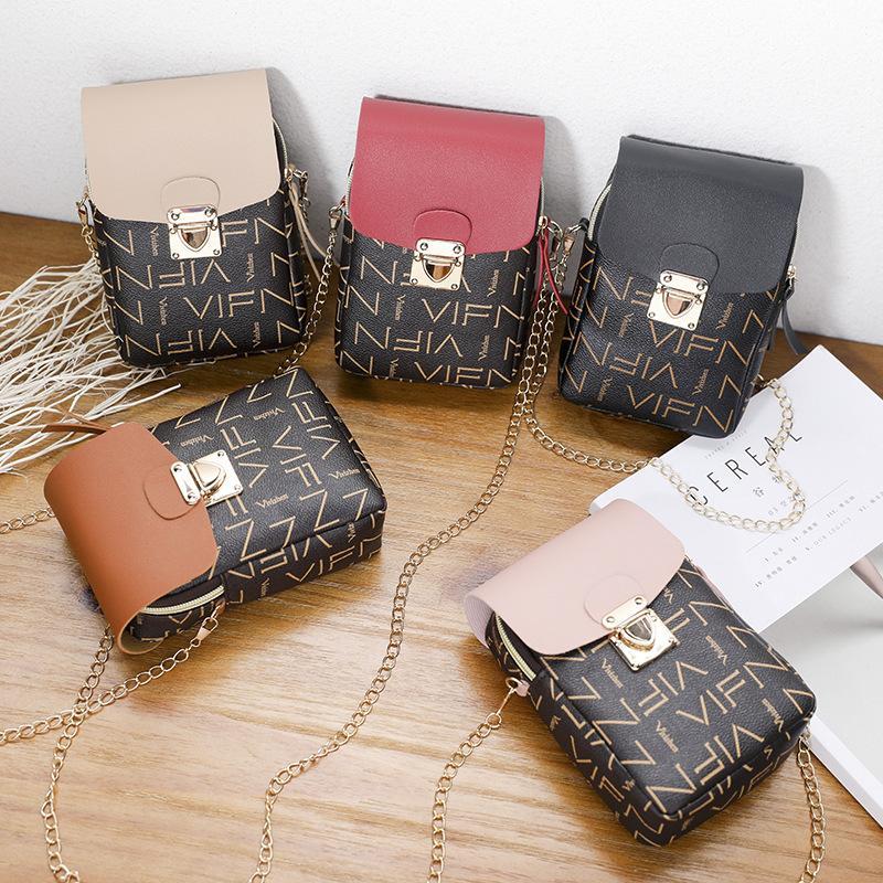 Estate della spalla di nuovo borsa Slant Attraverso Messenger Bag Small Fermo Sporgenza Colore Contrasto catena cambiamento mobile donne sacchetto del telefono