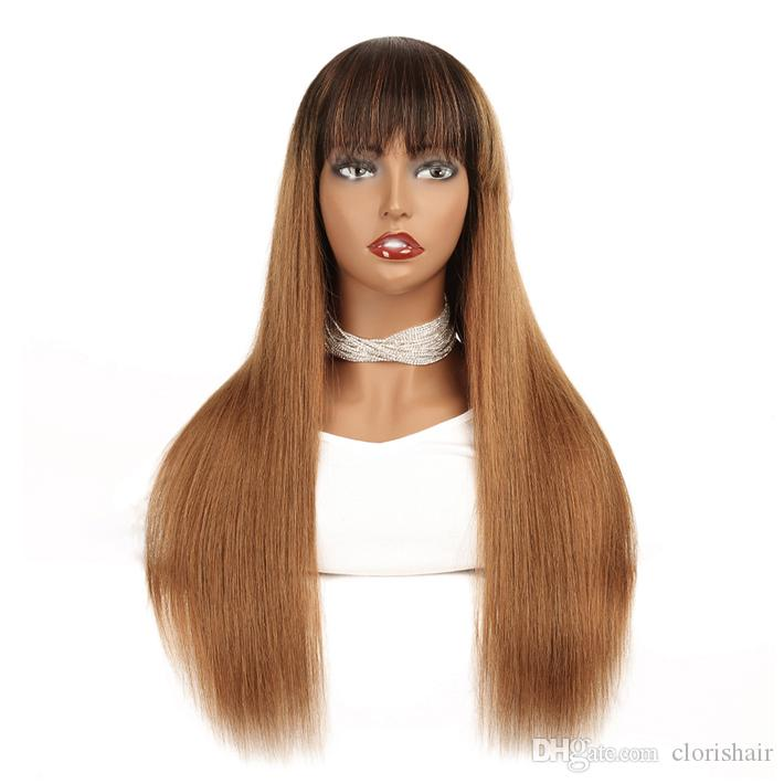 Highlight 1B 30 Raw Indian Remy Straight Human Hair Wigs With Bangs For Black Women Full Machine Made Blonde Ombre Glueless Wig Non Lace