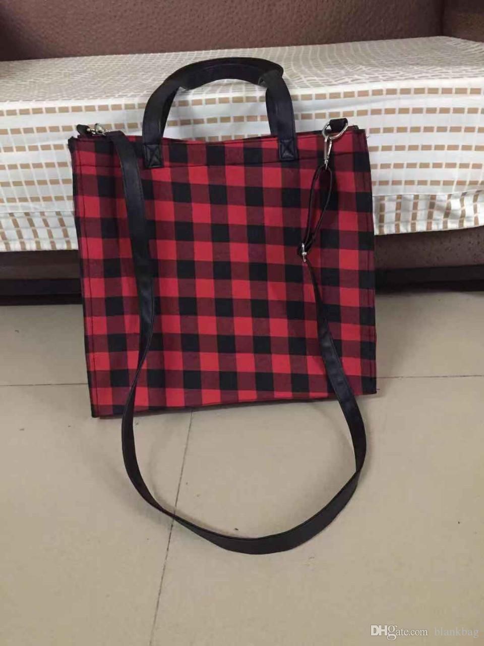 hiver nouveau sac à main à carreaux femmes de mode de conception de buffle avec sac à bandoulière fourre-tout rouge à carreaux noir bracelet