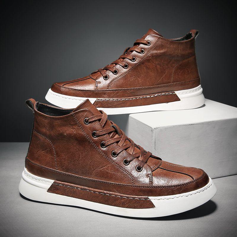planos ocasionales de moda de cuero Negro de los hombres de los zapatos de conducción zapatos para hombres de alta calidad de las zapatillas de deporte de los planos de la nueva marca%