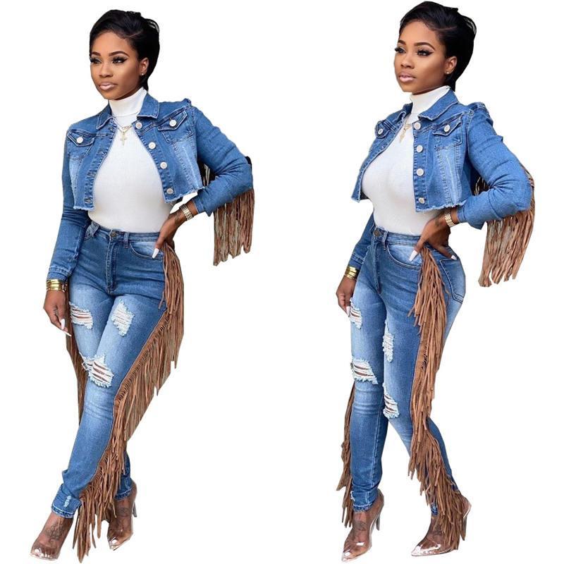 Jeans Femmes Deux Pantalons Piece Cardigan Tassel court Tops Trous Femme 2pcs précarisés Apparel Nouvelle arrivée