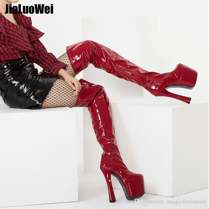 Fetichismo rojo 20 cm de tacón alto Botas sobre la rodilla Plataforma de mujer con botas altas hasta el muslo más tallas 46 Zapatos de baile para hombre para cosplay