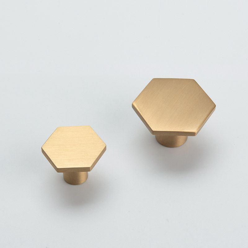 Oro del gabinete de cocina perillas de latón macizo hexágono forma de muebles manijas del cajón de la manija tirones del orificio de Dresser perillas Armario de puertas