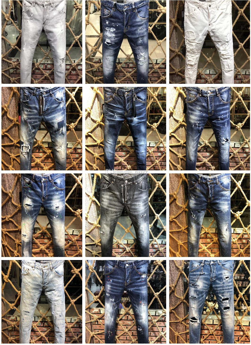 Dsquared2 2019 D2 neue Ankunft Top Qualität Markendesigner Männer Denim Jeans Stickerei Hosen Mode Löcher Hosen Italien Größe 44-54