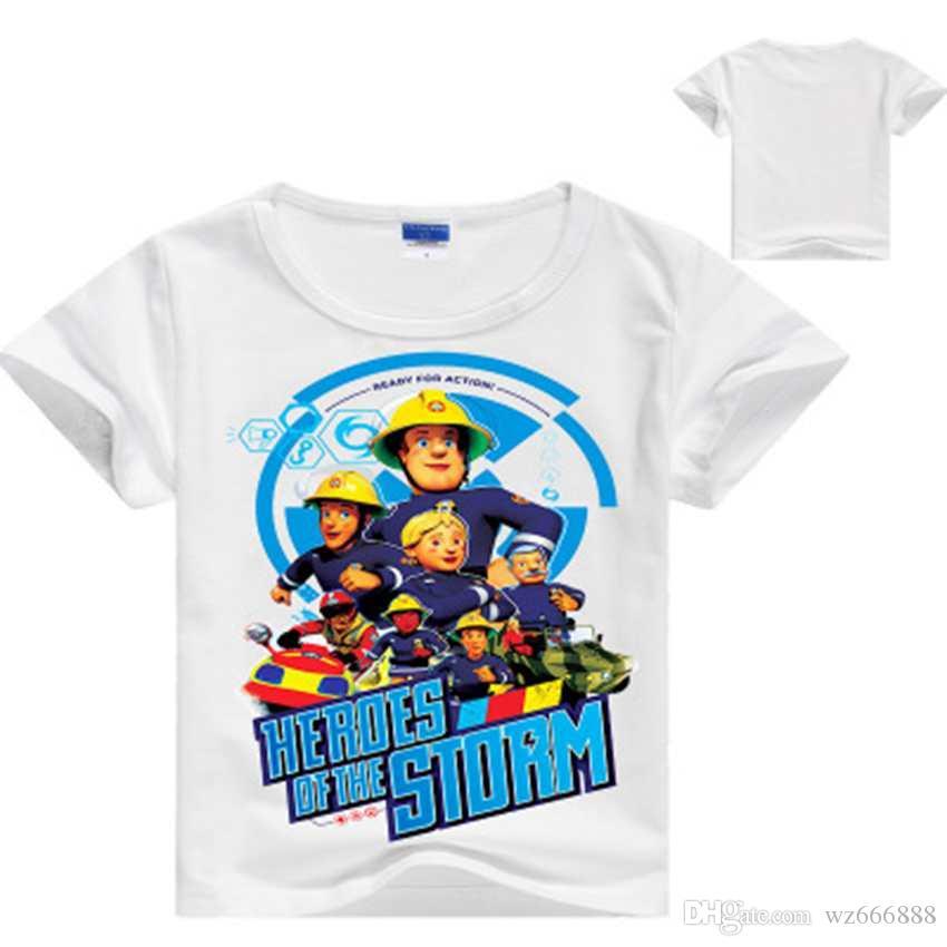 Nuevos bebés ropa infantil de dibujos animados bombero Sam Camisetas Chicas Manga corta camiseta de los niños Verano Tops Tee Trajes Ropa