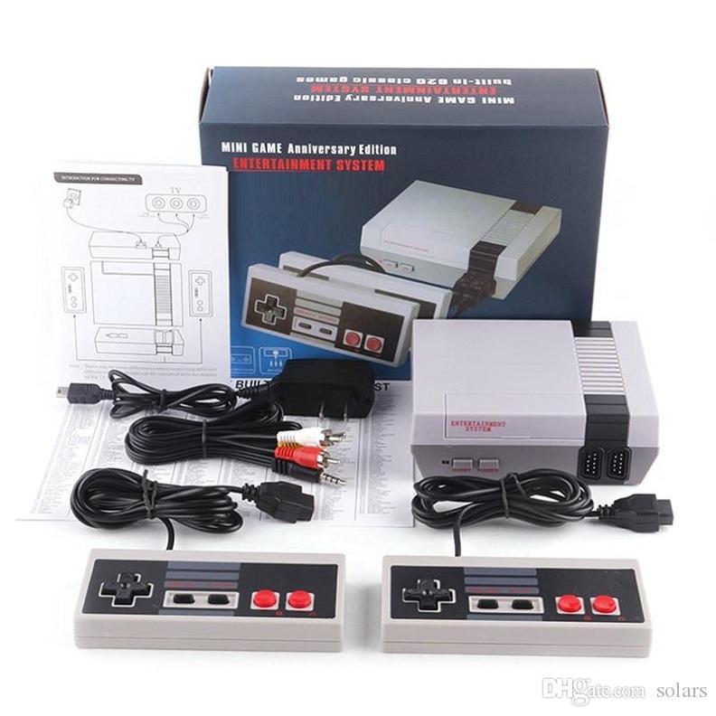 Heiße verkaufende Mini-TV-Video-Entertainment-System 620 500 Spielkonsole NES Spiele Wth Controller Retail Box Verpackung