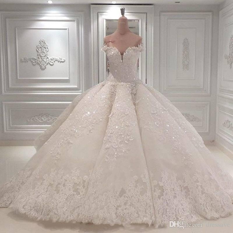 Милая на плечо Свадебные платья 2020 Кружева Аппликации Бальное платье Сметать поезд Свадебные платья Vestido de Novia