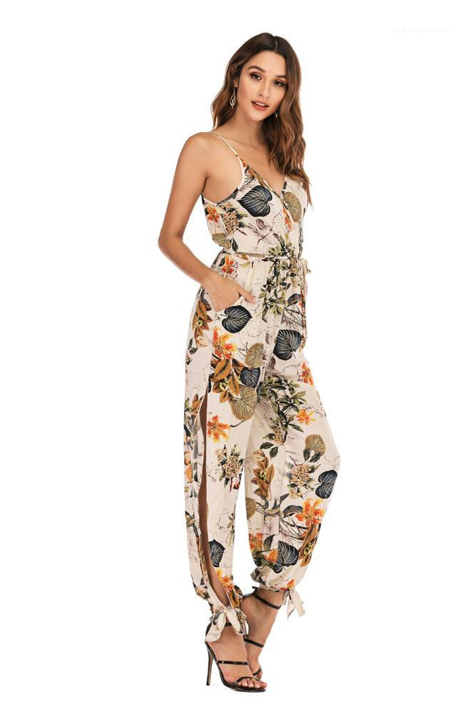 Flora Printed Deep V Neck Rompers One Piece Suits Sleeveless Lady Backless Clothing Summer Women Jumpsuits
