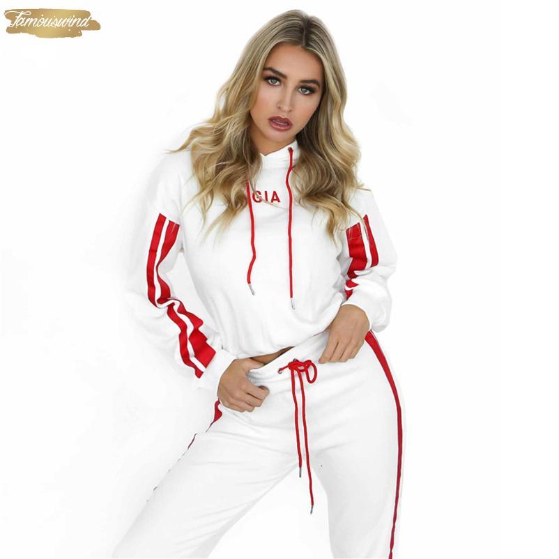 Mulheres Treino Pullover Hoodies E Calças Pieces Set Dropshipping Feminino Cropped Top pulôver e calças camisola Suit