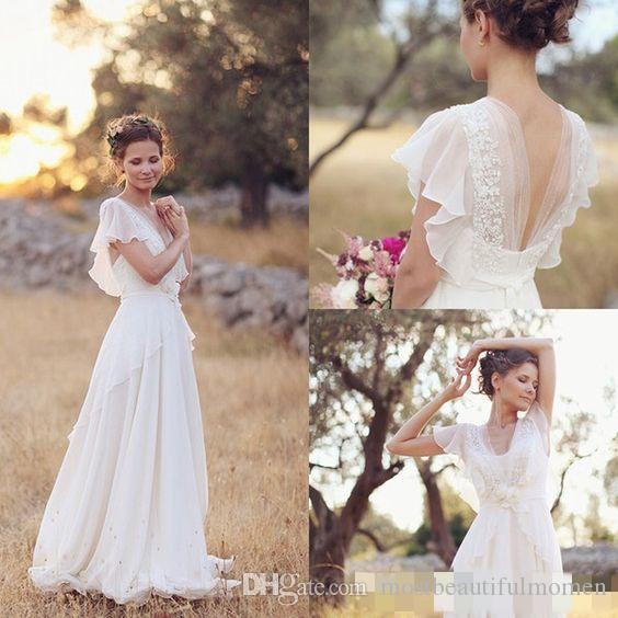 Robes de mariée de style hippie bohème 2019 plage robe de mariée une ligne robes de mariée dos nu blanc dentelle mousseline de soie Boho