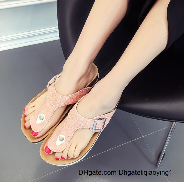 bokon 2020 Fashion Summer Cork Slippers Sandals New Women Casual Beach Double Buckle Printed Slip on Slides Shoe Flat white black pink 6QZV