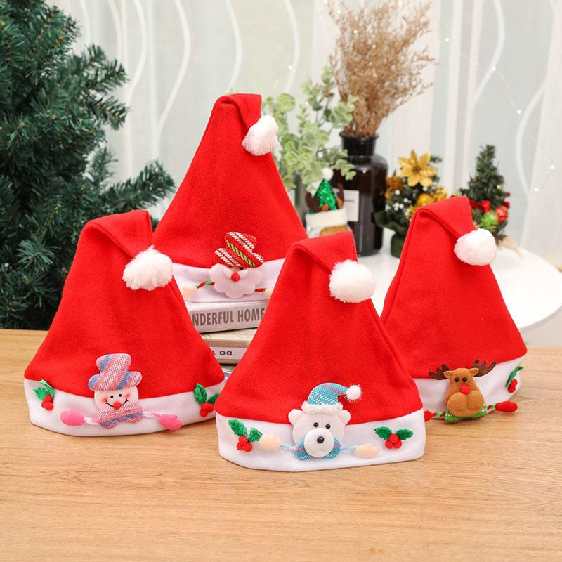 10 Pcs Red Christmas Hats for Adult Children Xmas Caps Merry Chiristmas Party Supplies Hats Christmas Decorations for Home 2018