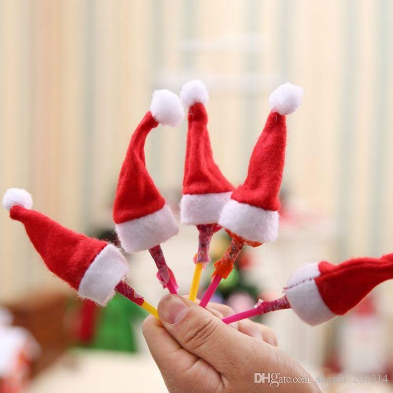Vente chaude Mini Père Noël Chapeau de Noël de Noël de vacances Lollipop Top Topper Couverture du Festival Fête de Noël Décoration