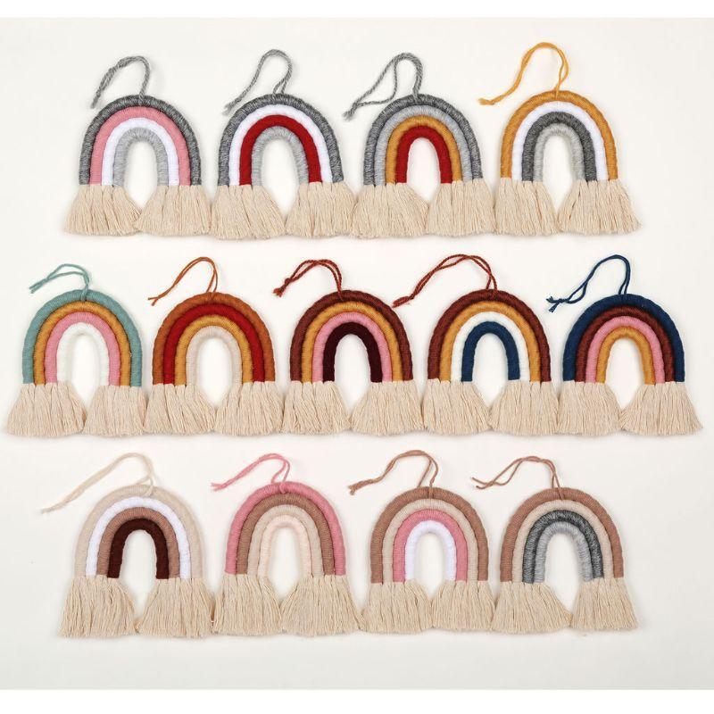 Макраме Радуга Гобелен Декоративных Цветных для Boho домашнего декора для вечеринок, Baby Shower, Nursey Dorm Room