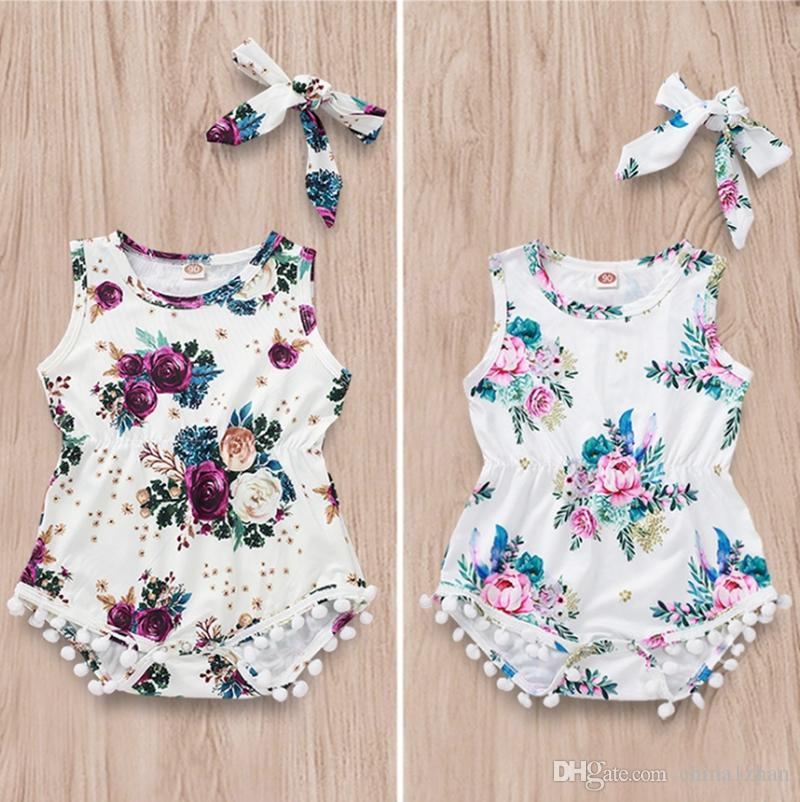 US Infant Baby Girls Kids One-Pieces Sleeveless Summer Outfit Set Romper Clothes